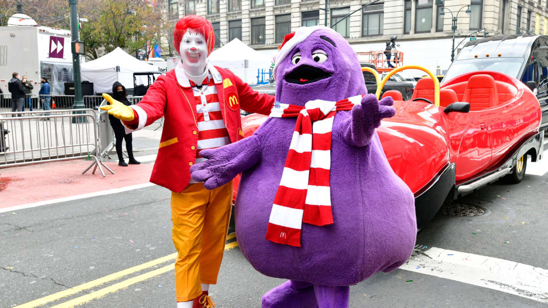 Ronald McDonald and Grimace in 2020.
