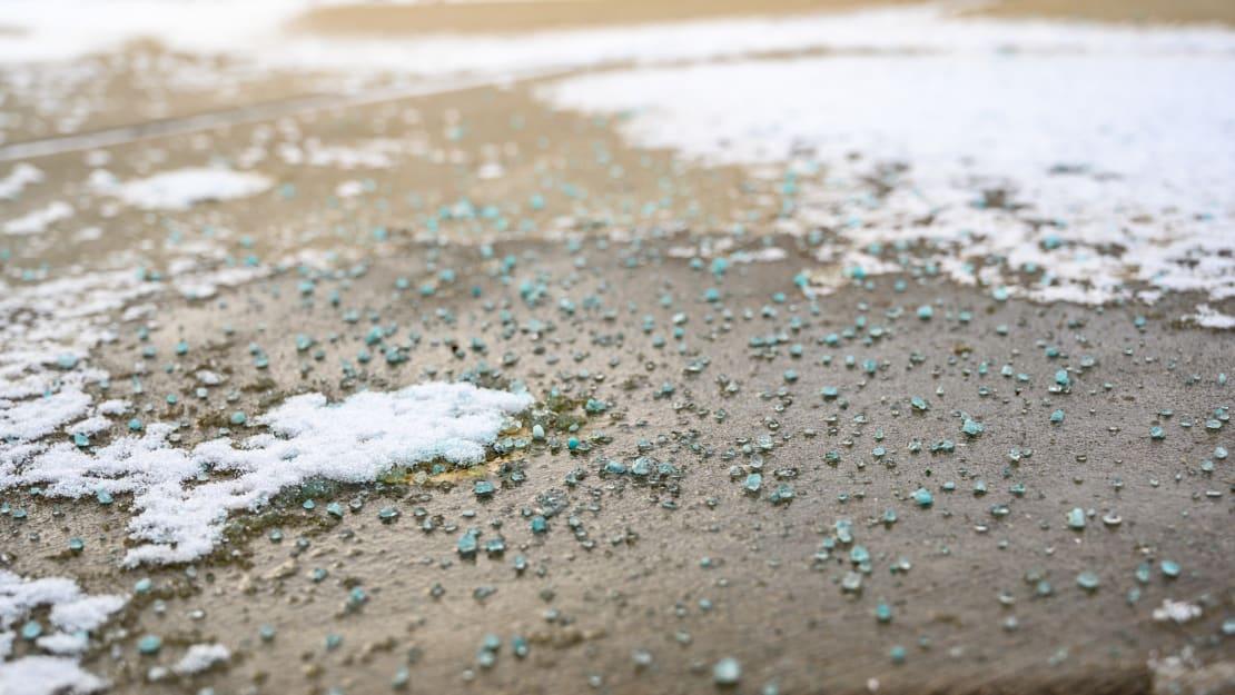 Rock salt can damage concrete driveways.
