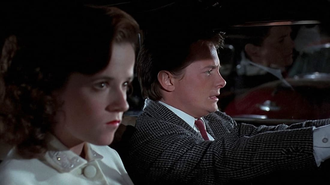 Lea Thompson and Michael J. Fox in Back to the Future (1985).