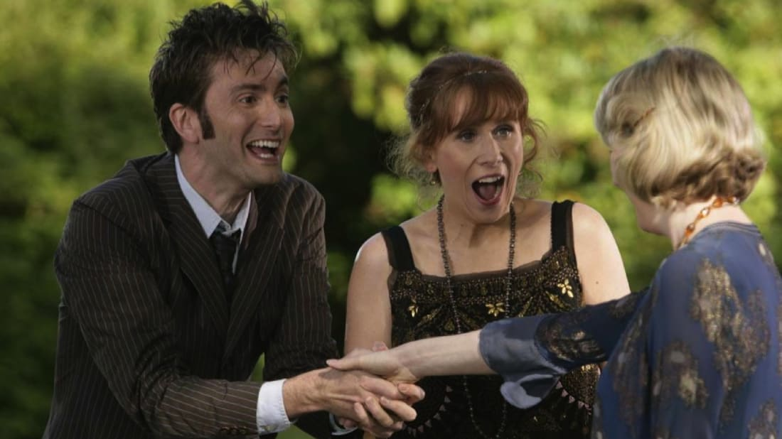 "David Tennant, Catherine Tate, and Fenella Woolgar in ""The Unicorn and the Wasp"""