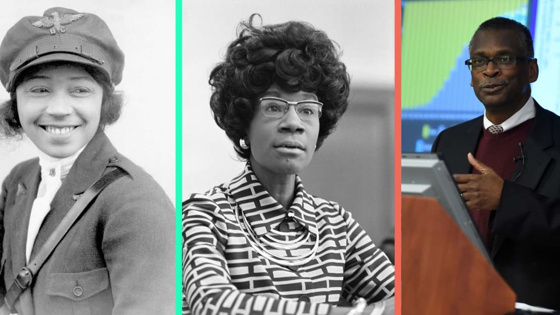 Bessie Coleman (left) Wikimedia Commons, Public Domain // Shirley Chisholm (center) Wikimedia Commons, Public Domain // Dr. Lonnie Johnson (right) Office of Naval Research Flickr, CC BY 2.0