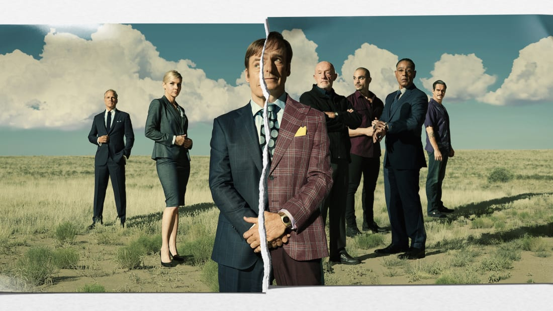 Patrick Fabian, Rhea Seehorn, Bob Odenkirk, Jonathan Banks, Michael Mando, Giancarlo Esposito, and Tony Dalton in Better Call Saul.