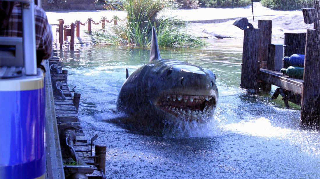 Animatronic 'Jaws' shark from the Universal Studios Hollywood tram tour.