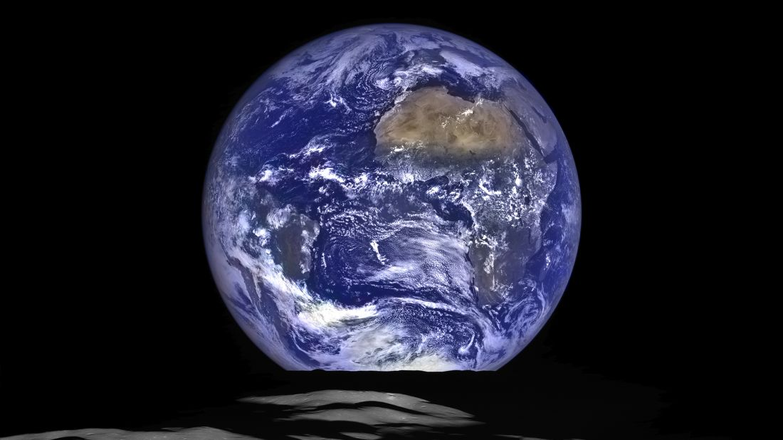 Earth as captured from near the lunar horizon by the Lunar Reconnaissance Orbiter in 2015.