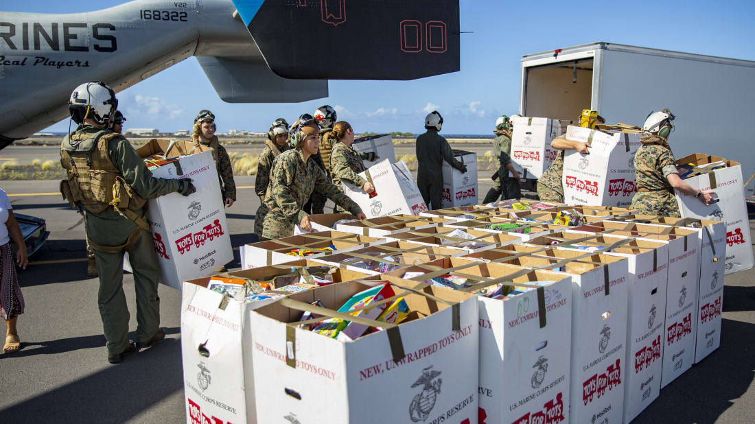 Marines delivering 'Toys for Tots' in Hawaii in 2019.