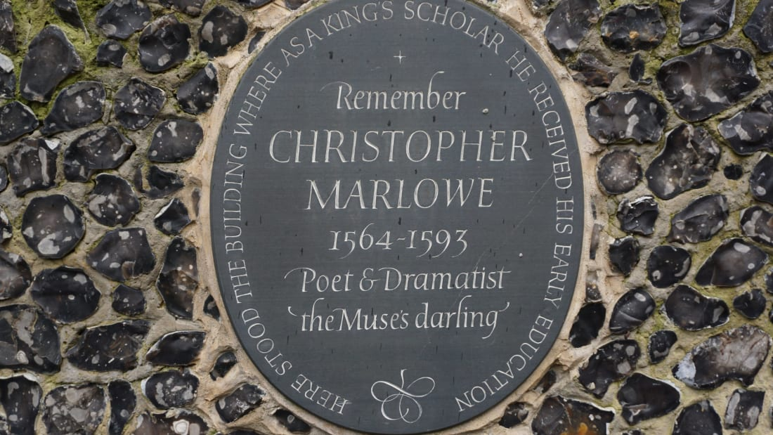 A stone in memory of Christopher Marlowe at Kings School, Canterbury
