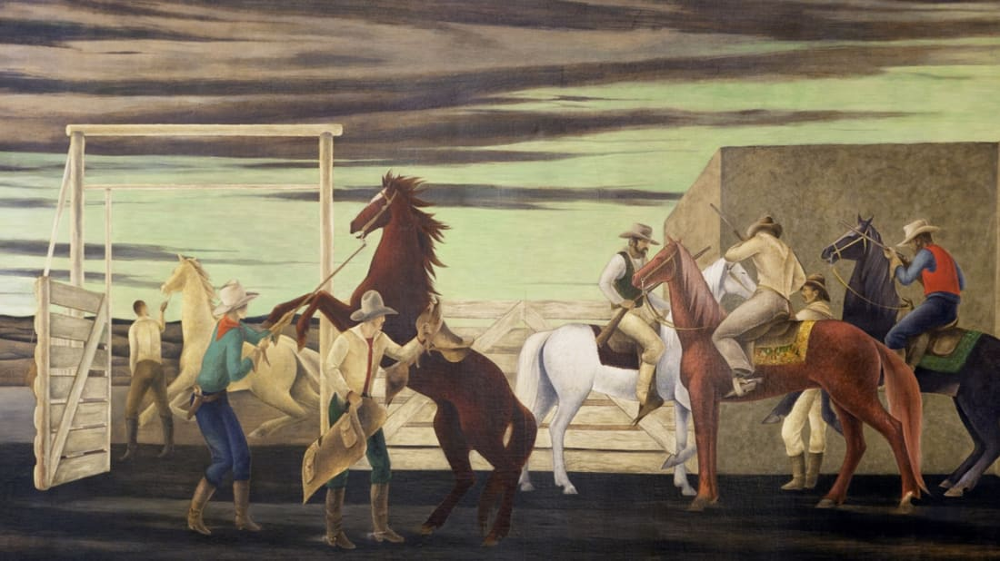 "Part of a mural by Frank Albert Mechau, Jr. called ""Pony Express"" in the Ariel Rios Federal Building in Washington, D.C."