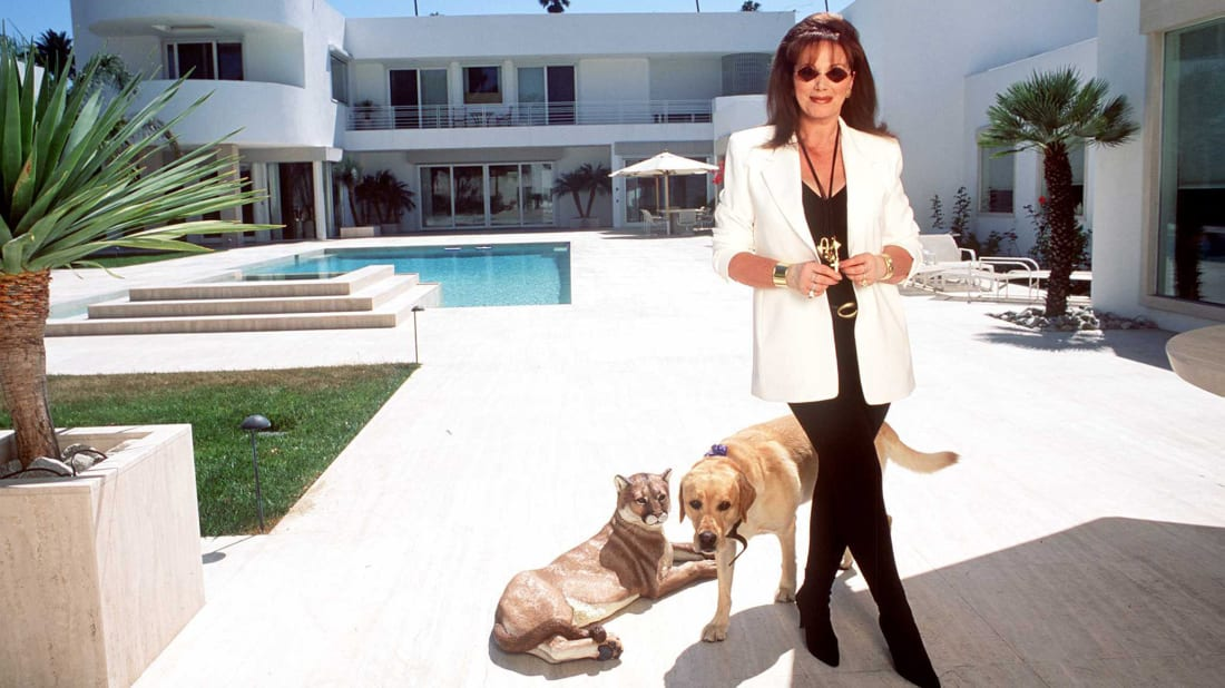 Jackie Collins at her home in Beverly Hills, California in 1995.
