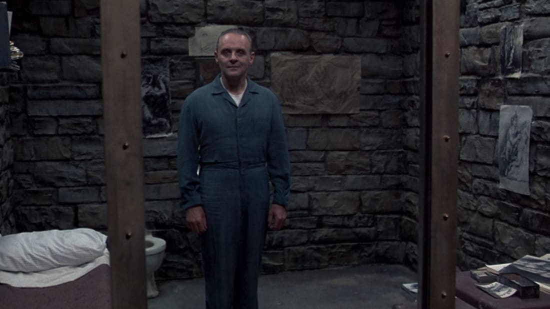 Anthony Hopkins as Hannibal Lecter in The Silence of the Lambs (1991).