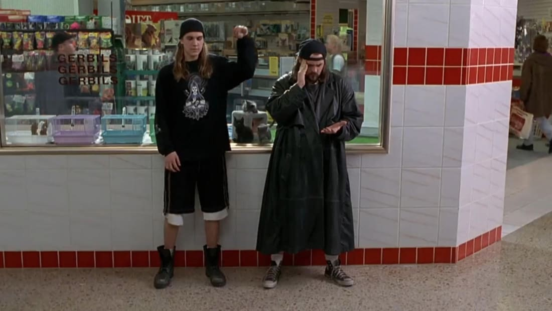 Jason Mewes and Kevin Smith in Mallrats (1995).