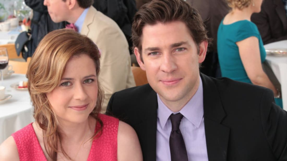 Jenna Fischer and John Krasinski star in The Office.