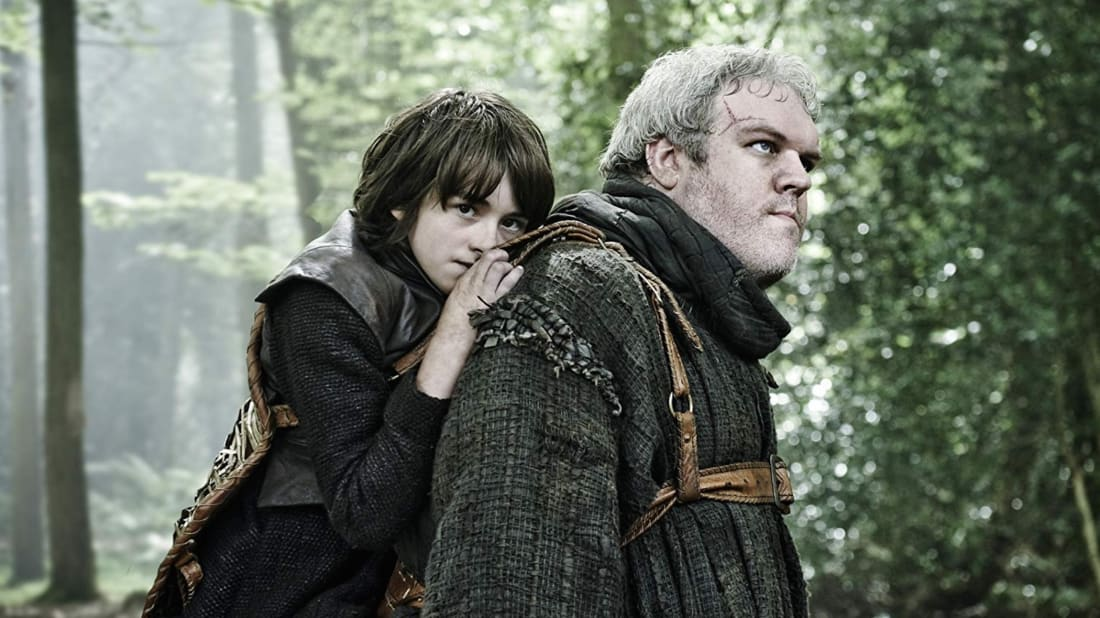 Isaac Hempstead Wright with Kristian Nairn in Game of Thrones