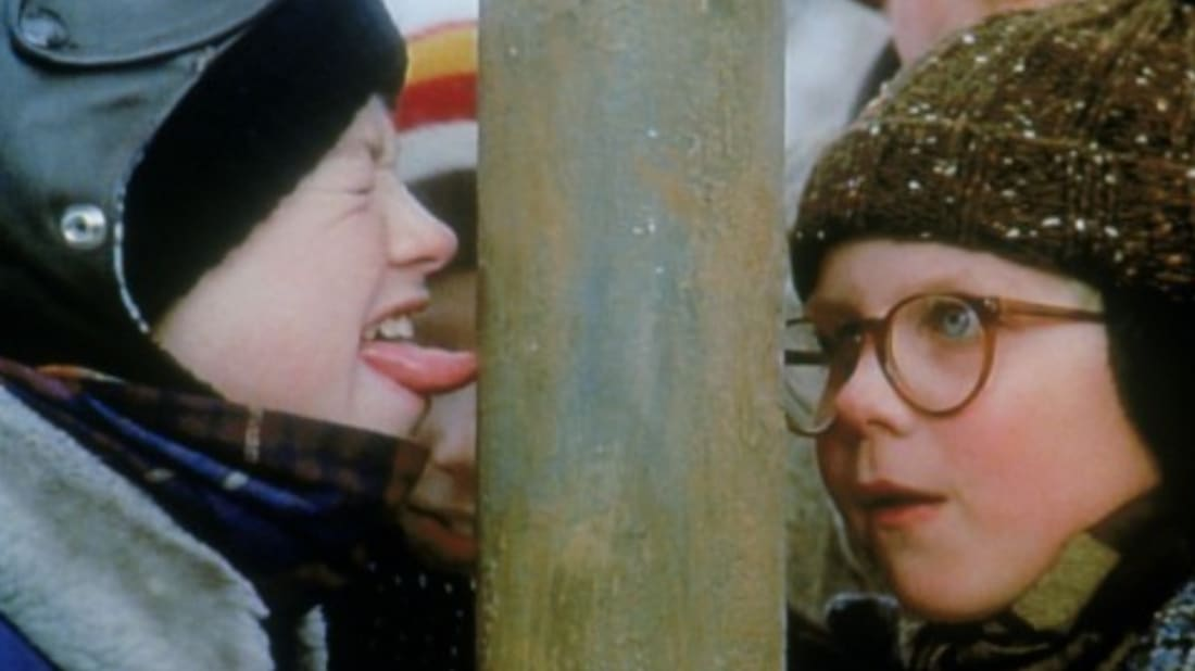 Cast Of A Christmas Kiss.How A Christmas Story S Tongue On The Flagpole Scene Was