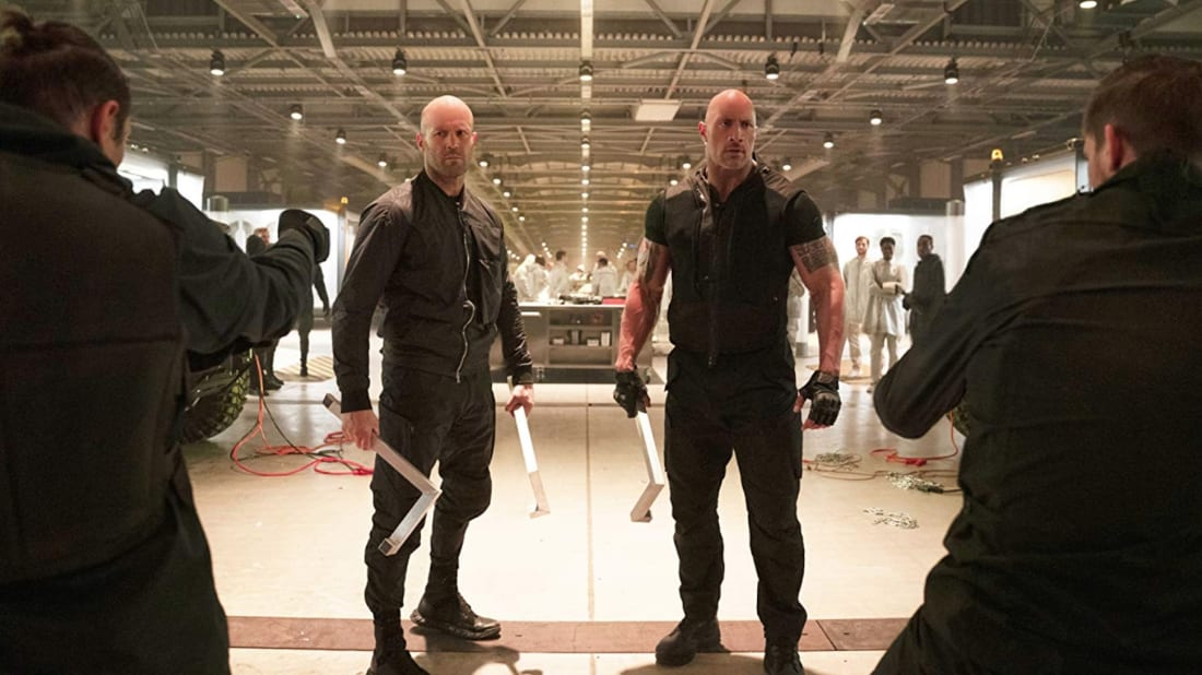 Jason Statham and Dwayne Johnson star in Fast & Furious Presents: Hobbs & Shaw (2019).