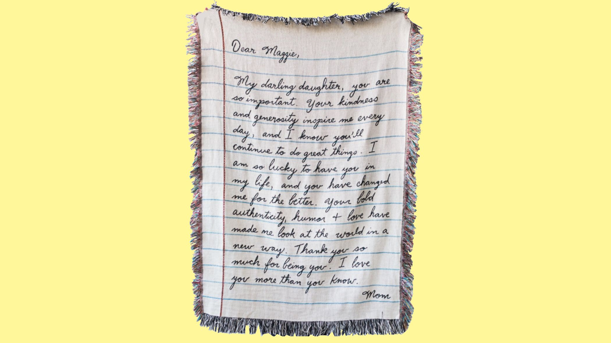 Turn Your Handwritten Letter Into a Blanket This Mother's Day