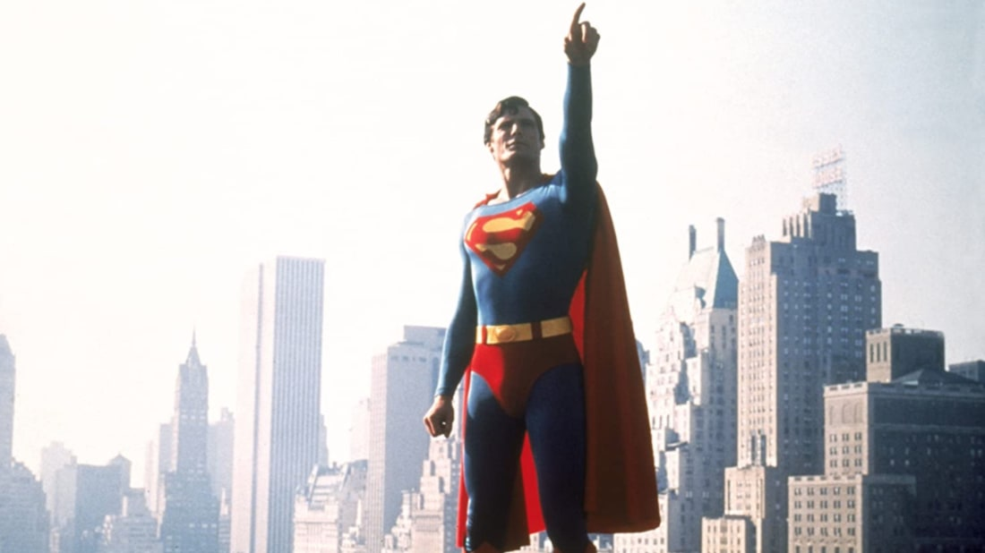 Christopher Reeve stars in Superman (1978).