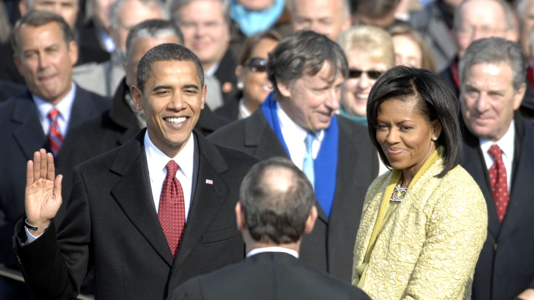 Barack Obama being sworn in as the 44th president of the United States on January 20, 2009.