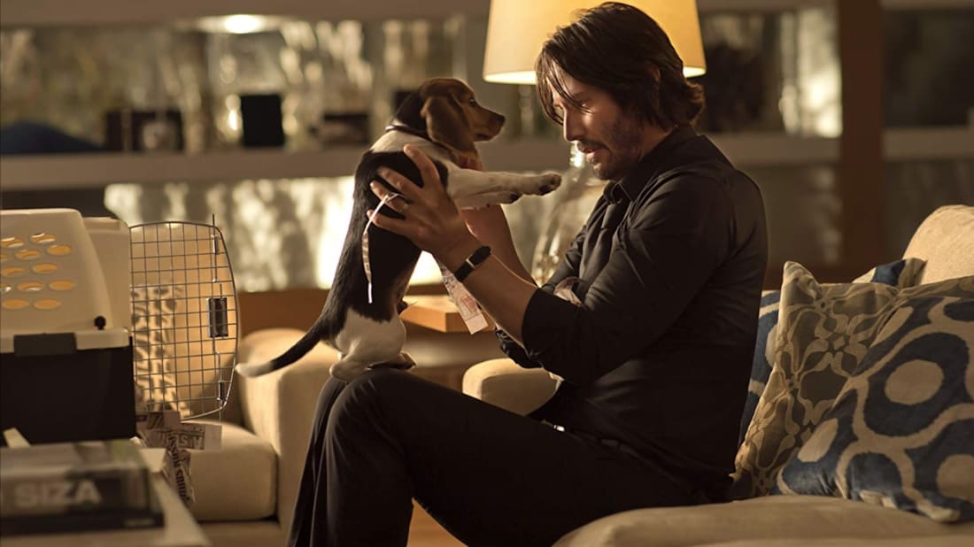 Keanu Reeves, in happier times with his pup, in John Wick (2014).