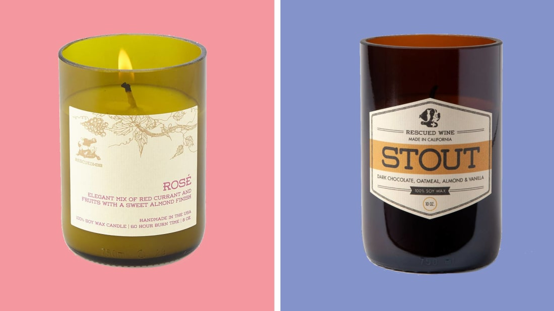 These beer- and wine-scented candles are poured into reclaimed bottles.