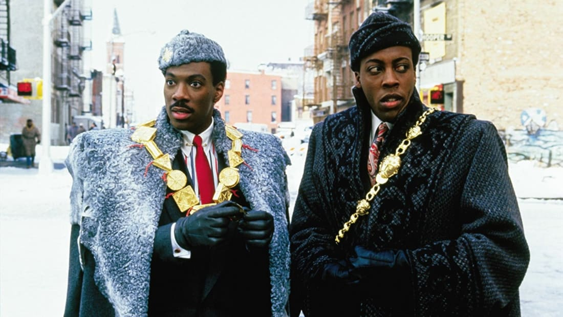 Eddie Murphy and Arsenio Hall in Coming to America (1988).