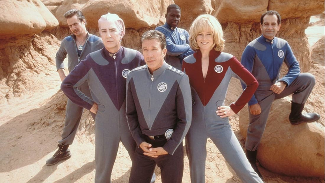 Sigourney Weaver, Alan Rickman, Tim Allen, Tony Shalhoub, Sam Rockwell, and Daryl Mitchell in Galaxy Quest (1999).