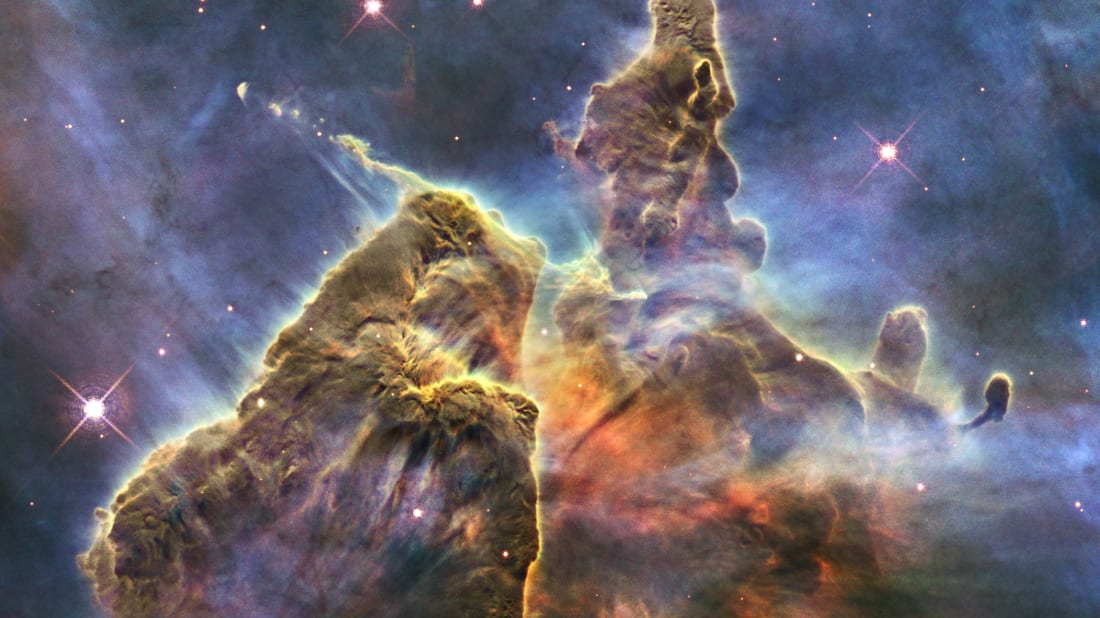 A 2010 Hubble-captured image of a pillar of gas and dust in a stellar nursery called Carina Nebula.