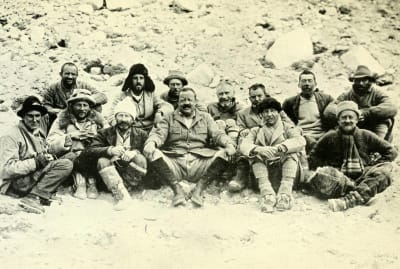 Members of the 1922 Everest expedition at Base Camp.