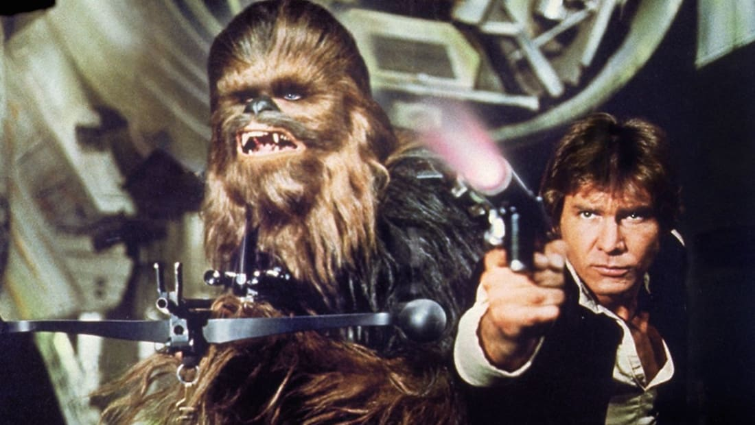 Harrison Ford and Peter Mayhew in Star Wars (1977).