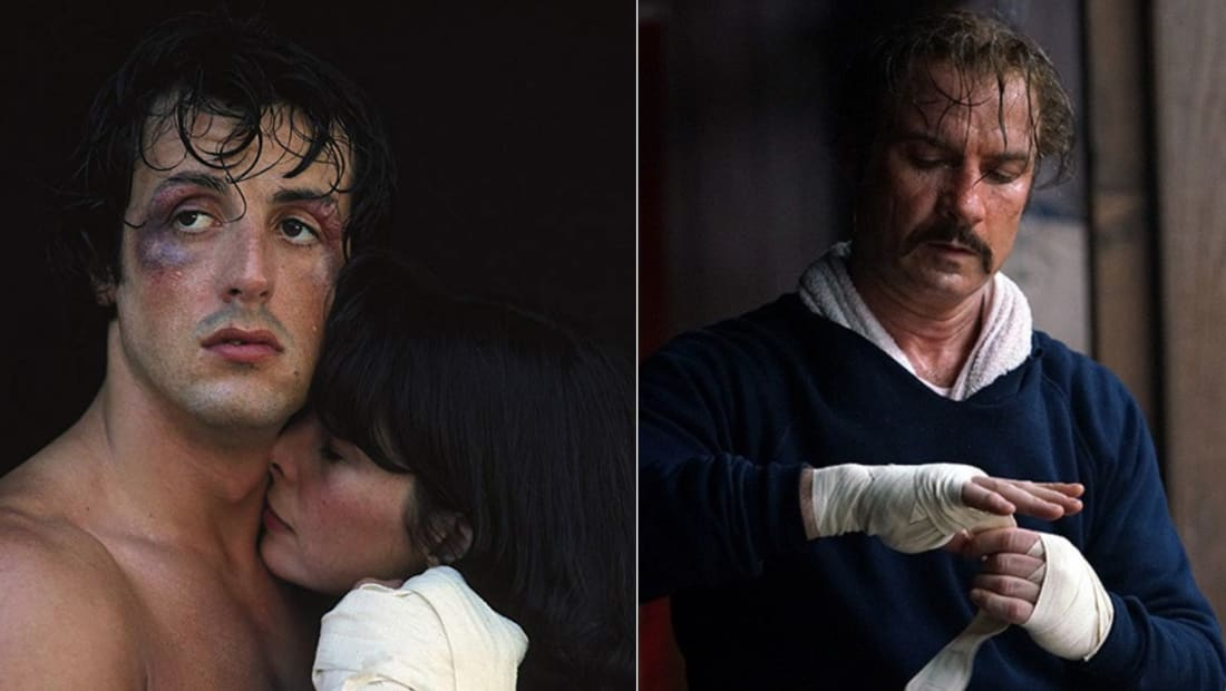 Sylvester Stallone and Talia Shire in Rocky (1976) and Liev Schreiber in Chuck (2016).