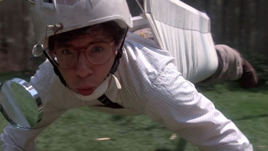 Rick Moranis stars in Honey, I Shrunk the Kids (1989).