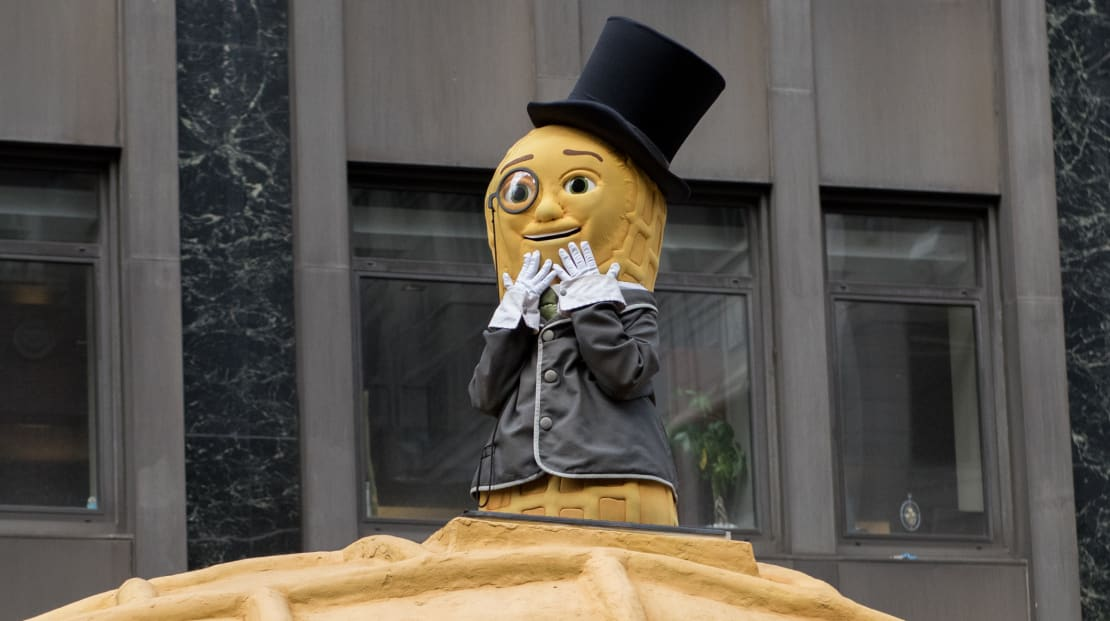 Mr. Peanut attends the 90th annual Macy's Thanksgiving Day Parade in New York City.