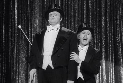 Peter Boyle and Gene Wilder in Mel Brooks'sYoung Frankenstein (1974).