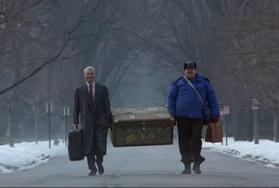 Steve Martin and John Candy in Planes, Trains and Automobiles (1987).