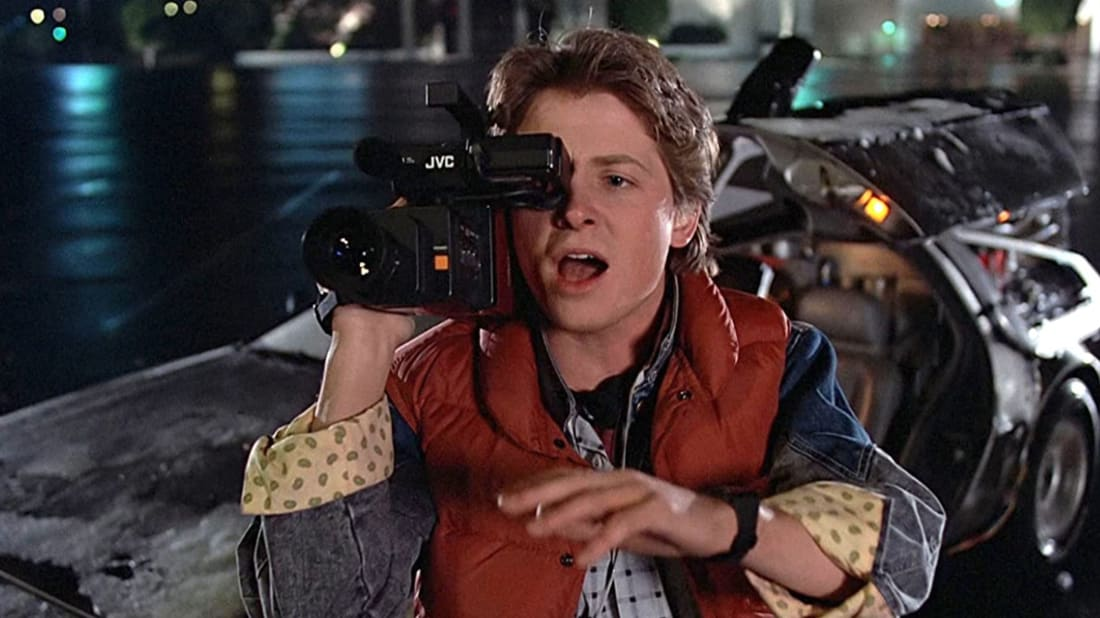 Michael J. Fox stars as Marty McFly in Back to the Future (1985).