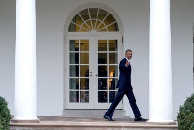 Barack Obama walks on the colonnade after leaving the Oval Office for the last time as President on January 20, 2017.