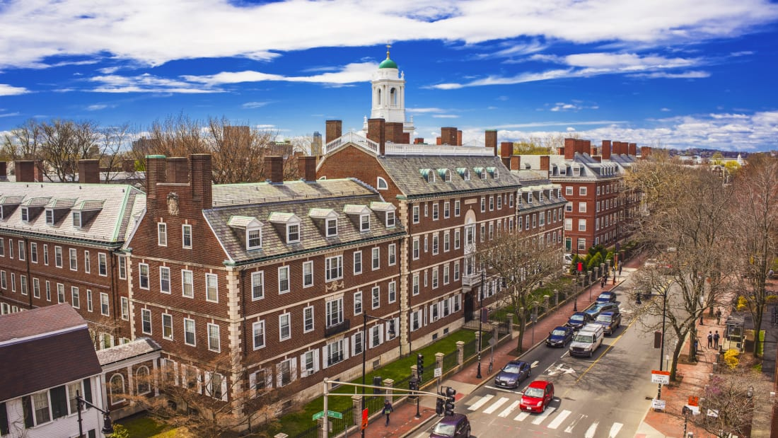 An aerial view of John Kennedy Street in the Harvard University area of Cambridge, Massachusetts.