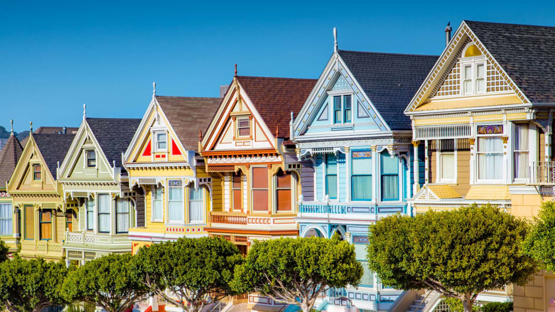 "The iconic ""Painted Ladies"" in San Francisco, America's healthiest city."