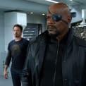 Chris Evans, Robert Downey Jr., and Samuel L. Jackson in The Avengers (2012).