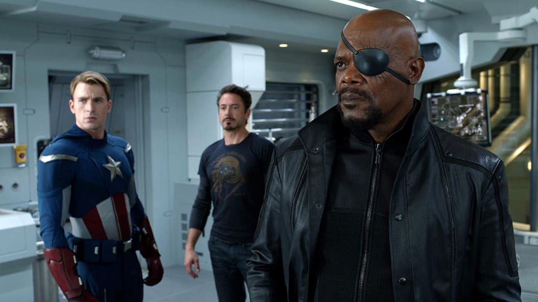Chris Evans, Robert Downey Jr., and Samuel L. Jackson in The Avengers (2012).
