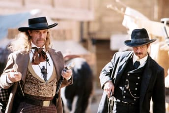 Keith Carradine and Timothy Olyphant in the pilot episode of Deadwood.