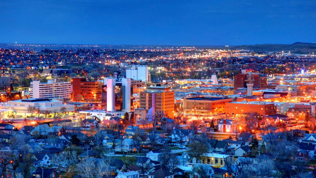 Rapid City, South Dakota, at night.