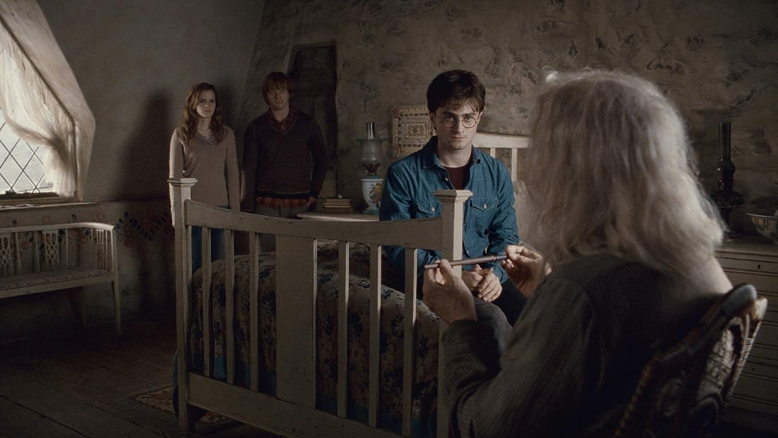 Emma Watson, Rupert Grint, Daniel Radcliffe, and John Hurt in Harry Potter and the Deathly Hallows: Part 2 (2011).
