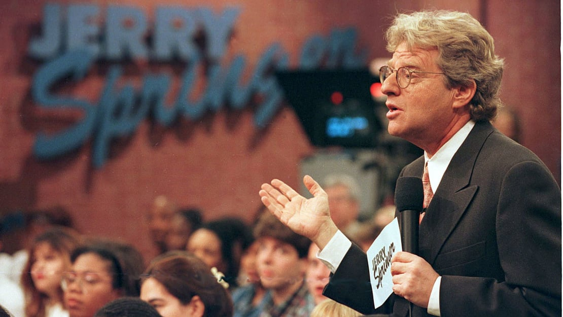 Jerry Springer tapes an episode of his show in December 1998.