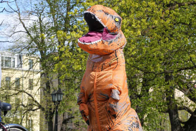 Dinosaur costumes are far from extinct.