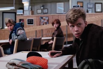Emilio Estevez, Molly Ringwald, and Anthony Michael Hall in The Breakfast Club (1985).