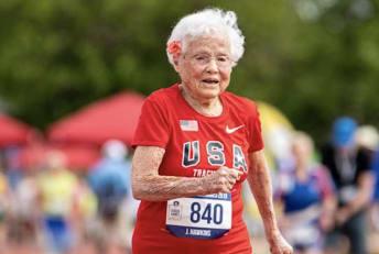"""Julia """"Hurricane"""" Hawkins participates in the 2019 Senior Games,"""