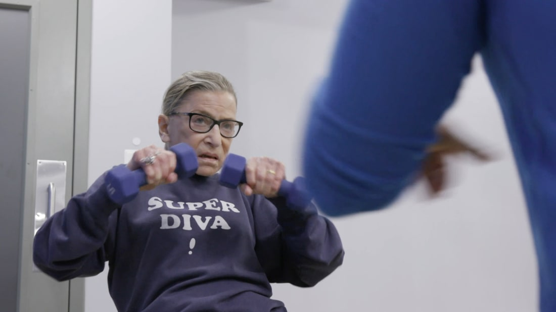 Justice Ruth Bader Ginsburg is seen working out in RBG (2018).