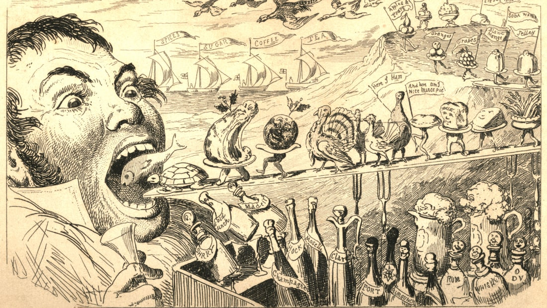 An illustration of a gluttonous man by George Cruikshank