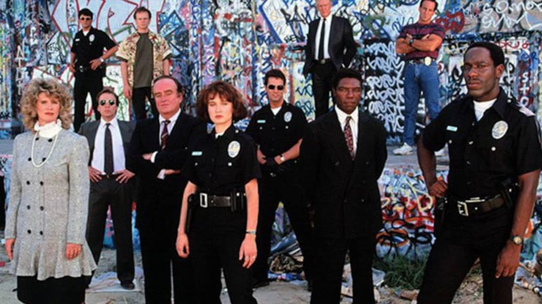 The cast of Cop Rock—in a rare moment of not singing about law and order.