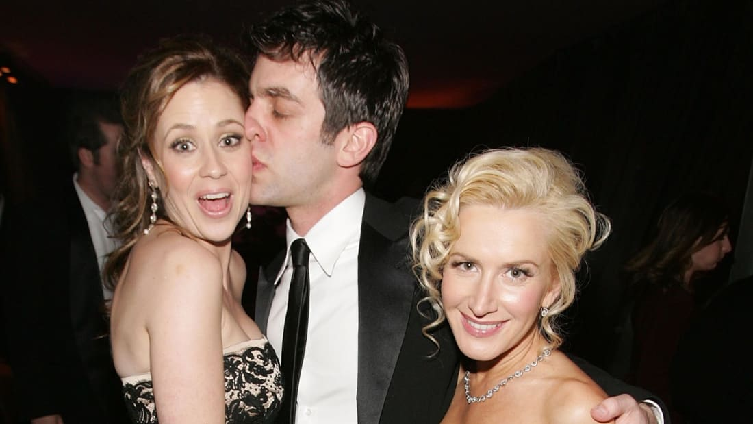 The Office co-stars Jenna Fischer, B. J. Novak, and Angela Kinsey in 2007.